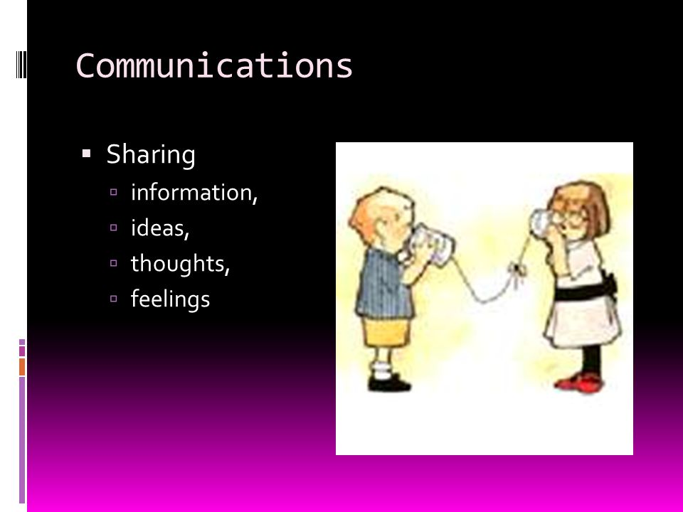 Communications  Sharing  information,  ideas,  thoughts,  feelings