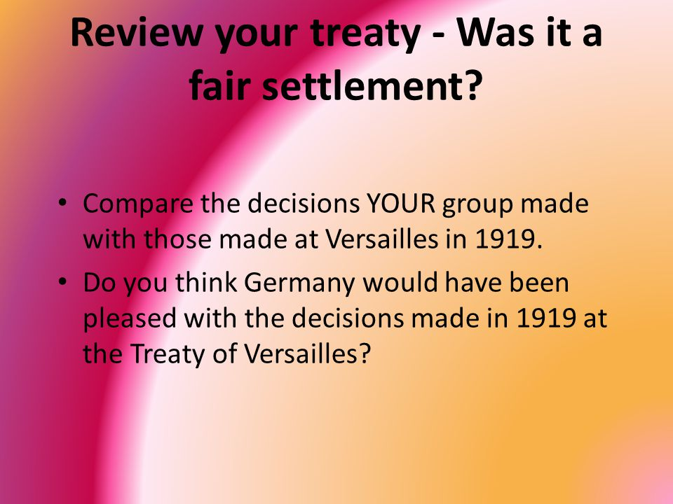Review your treaty - Was it a fair settlement.