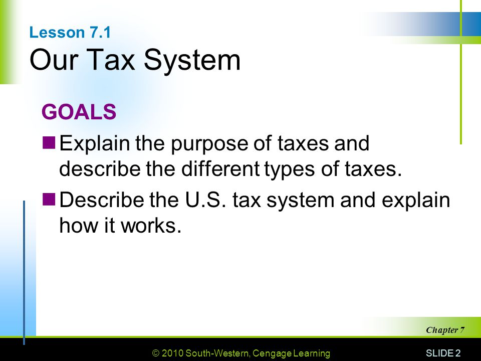 © 2010 South-Western, Cengage Learning SLIDE 2 Chapter 7 Lesson 7.1 Our Tax System GOALS Explain the purpose of taxes and describe the different types of taxes.