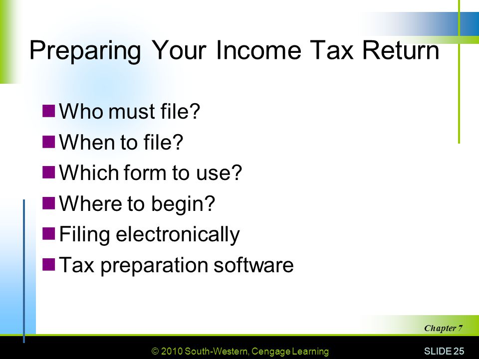 © 2010 South-Western, Cengage Learning SLIDE 25 Chapter 7 Preparing Your Income Tax Return Who must file.