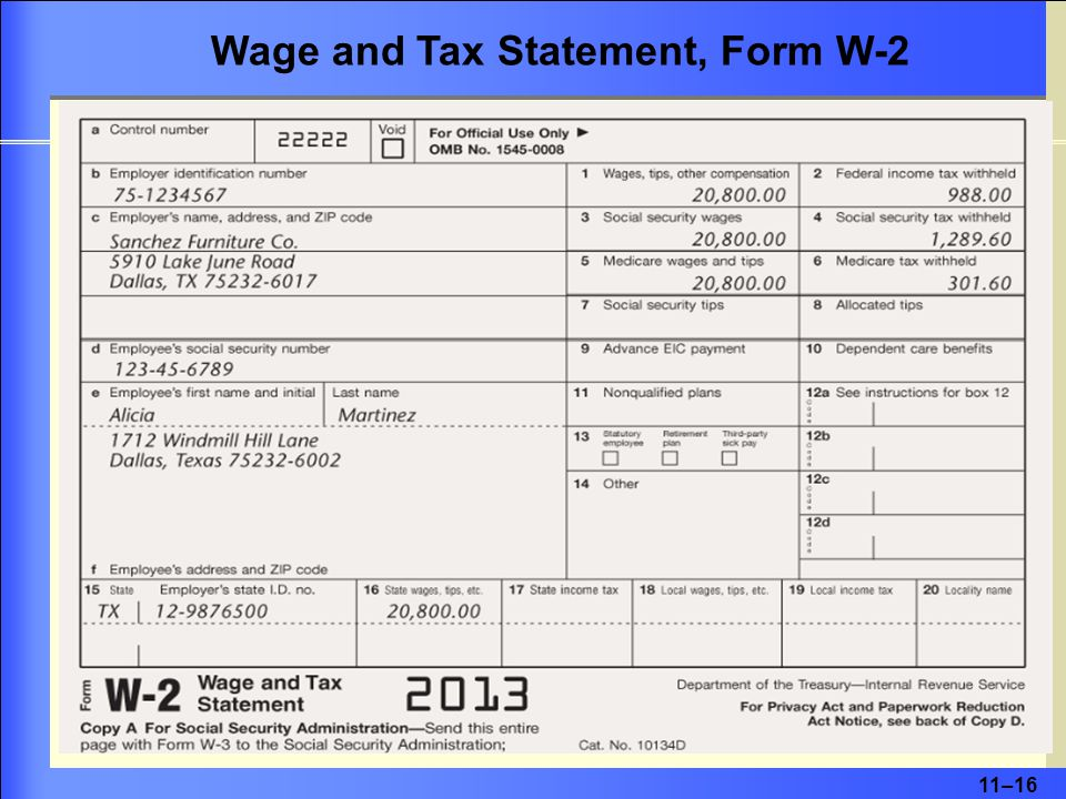 11–16 Wage and Tax Statement, Form W-2