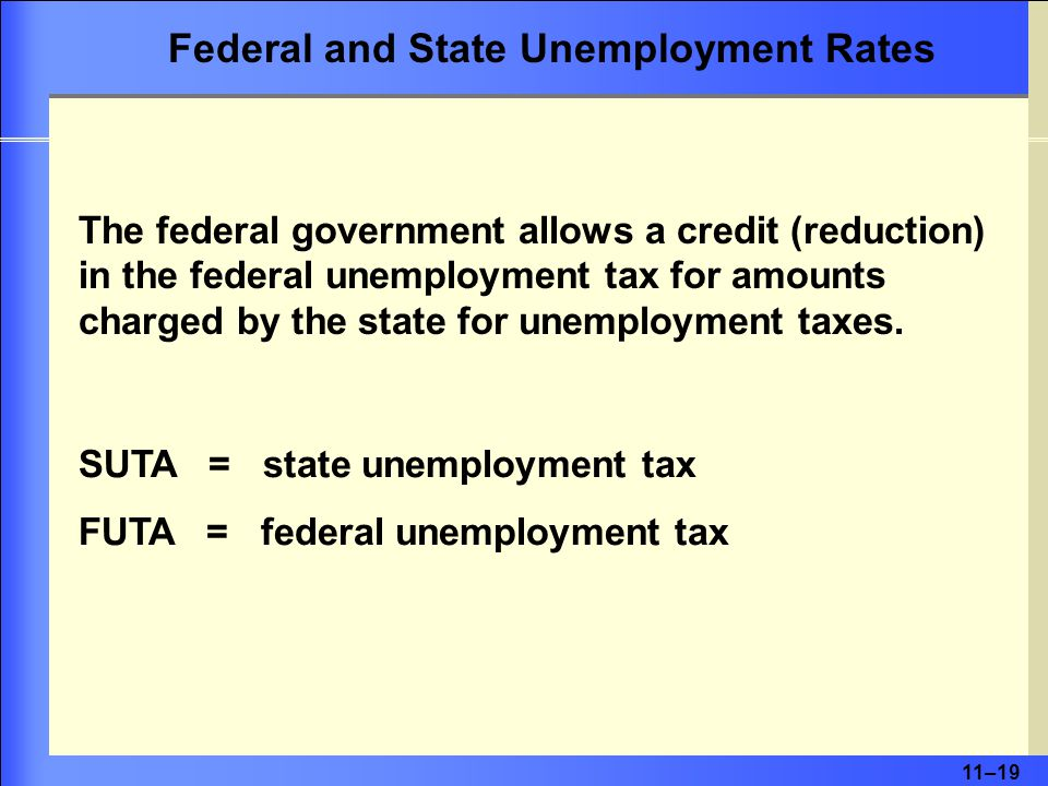 11–19 The federal government allows a credit (reduction) in the federal unemployment tax for amounts charged by the state for unemployment taxes.