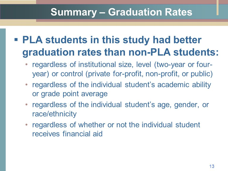 Summary – Graduation Rates  PLA students in this study had better graduation rates than non-PLA students: regardless of institutional size, level (two-year or four- year) or control (private for-profit, non-profit, or public) regardless of the individual student's academic ability or grade point average regardless of the individual student's age, gender, or race/ethnicity regardless of whether or not the individual student receives financial aid 13