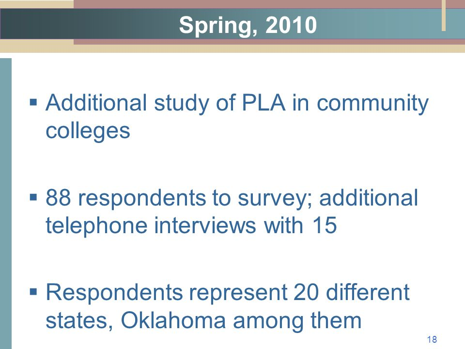 Spring, 2010  Additional study of PLA in community colleges  88 respondents to survey; additional telephone interviews with 15  Respondents represent 20 different states, Oklahoma among them 18