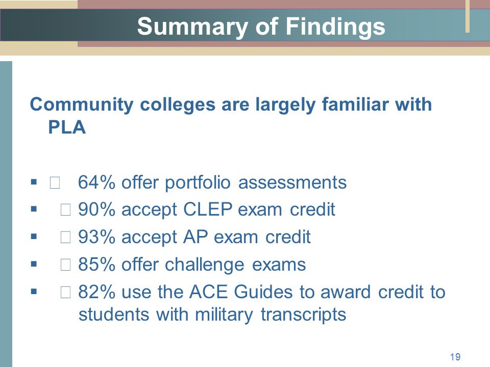 Summary of Findings Community colleges are largely familiar with PLA   64% offer portfolio assessments   90% accept CLEP exam credit   93% accept AP exam credit   85% offer challenge exams   82% use the ACE Guides to award credit to students with military transcripts 19