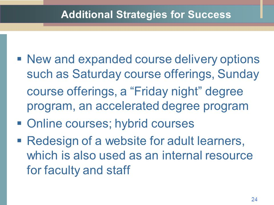 Additional Strategies for Success  New and expanded course delivery options such as Saturday course offerings, Sunday course offerings, a Friday night degree program, an accelerated degree program  Online courses; hybrid courses  Redesign of a website for adult learners, which is also used as an internal resource for faculty and staff 24