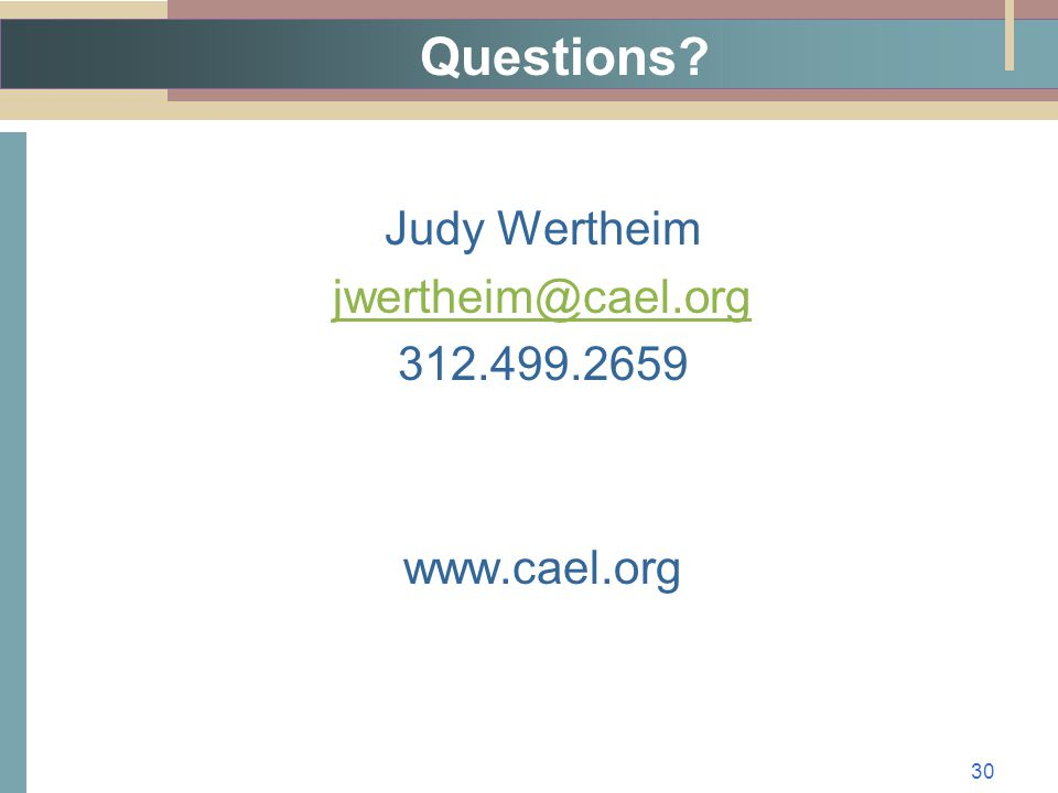 Questions Judy Wertheim