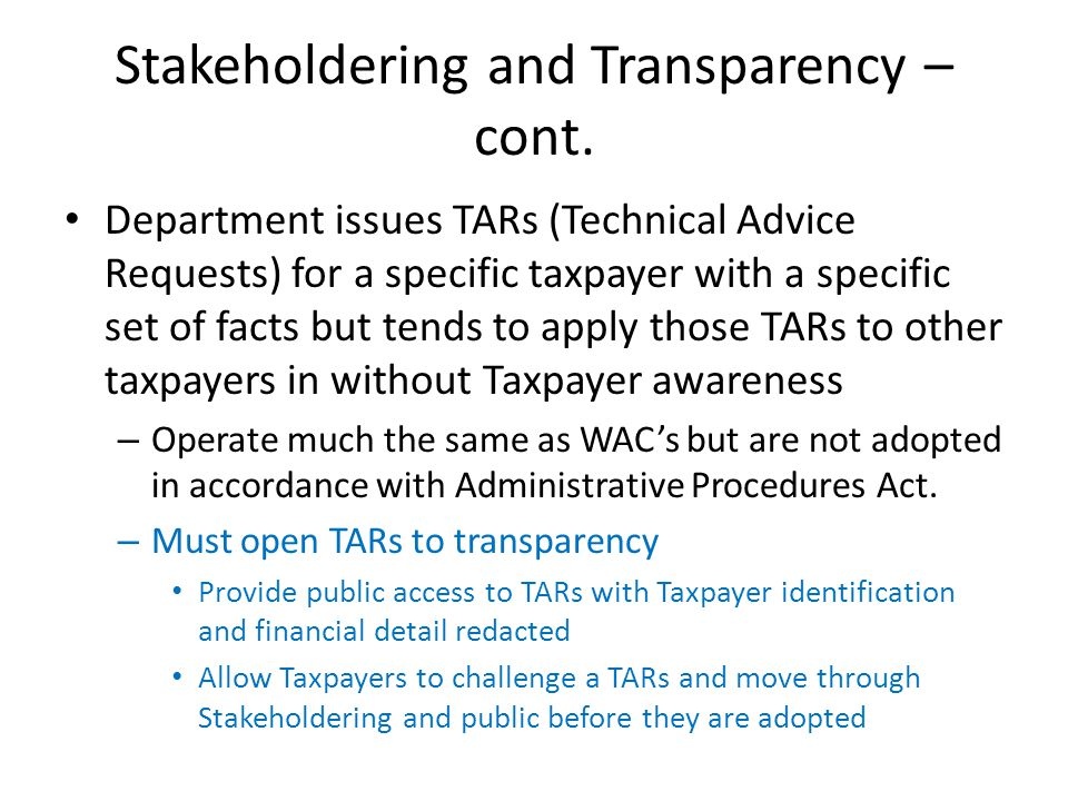 Stakeholdering and Transparency – cont.