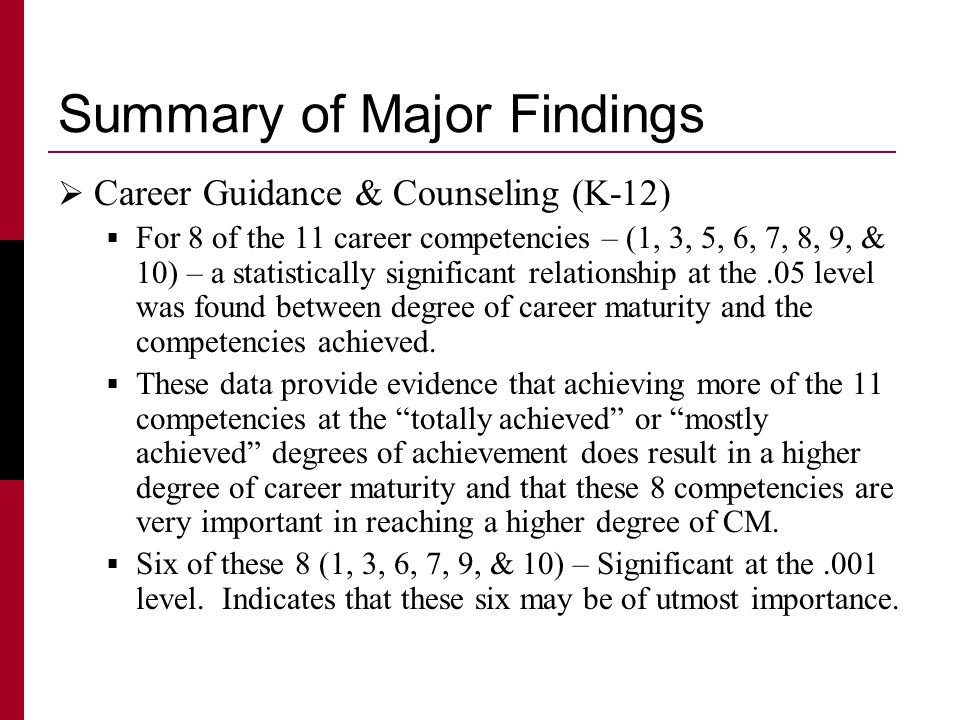Summary of Major Findings  Career Guidance & Counseling (K-12)  For 8 of the 11 career competencies – (1, 3, 5, 6, 7, 8, 9, & 10) – a statistically significant relationship at the.05 level was found between degree of career maturity and the competencies achieved.
