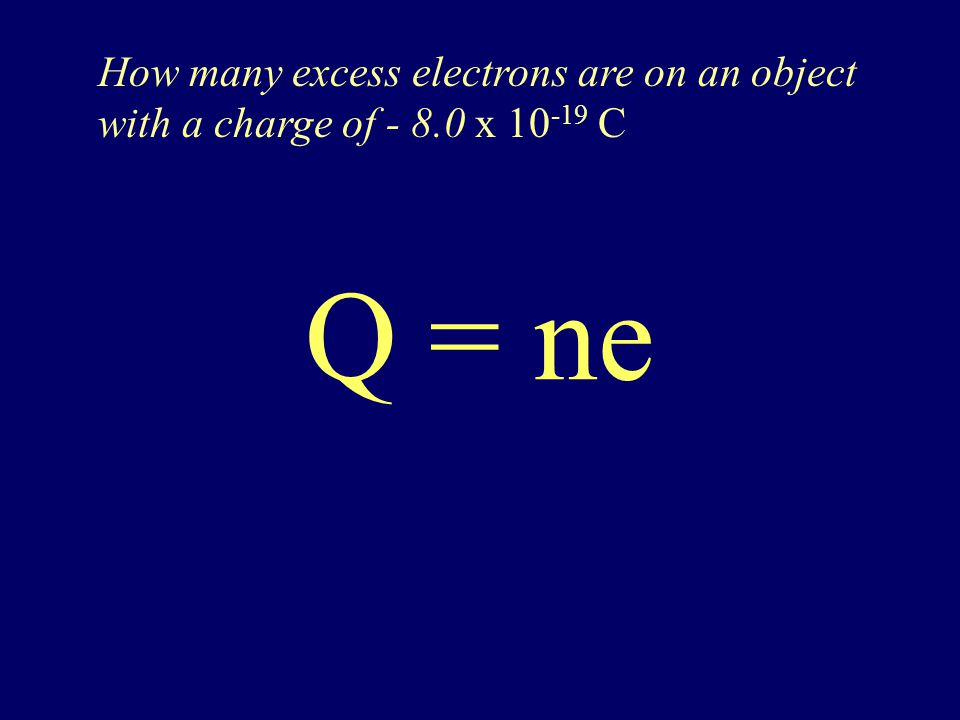 Q = ne Q is the charge of object (in coulombs) n is the number of elementary charges e is the elementary charge