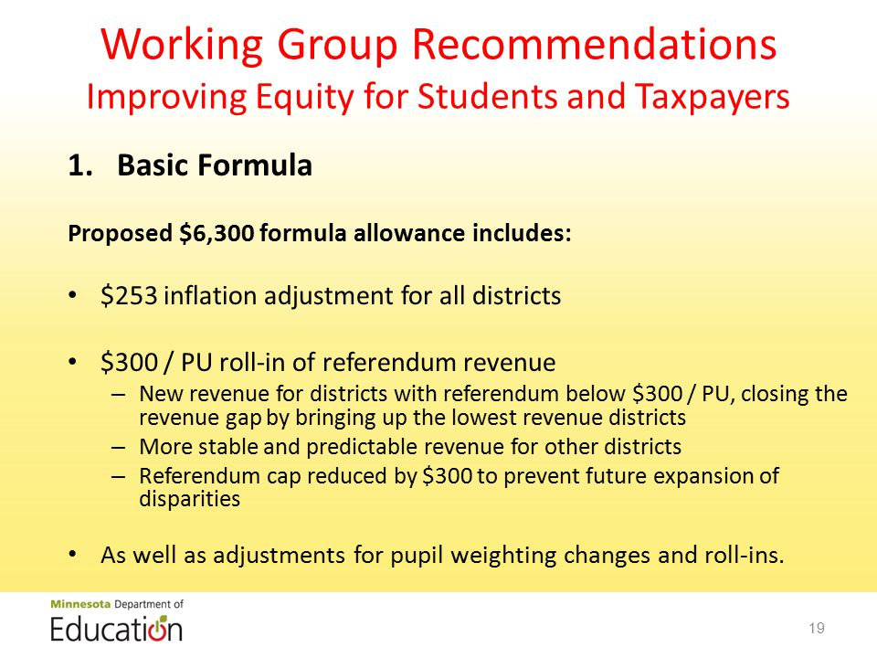 Working Group Recommendations Improving Equity for Students and Taxpayers 1.Basic Formula Proposed $6,300 formula allowance includes: $253 inflation adjustment for all districts $300 / PU roll-in of referendum revenue – New revenue for districts with referendum below $300 / PU, closing the revenue gap by bringing up the lowest revenue districts – More stable and predictable revenue for other districts – Referendum cap reduced by $300 to prevent future expansion of disparities As well as adjustments for pupil weighting changes and roll-ins.