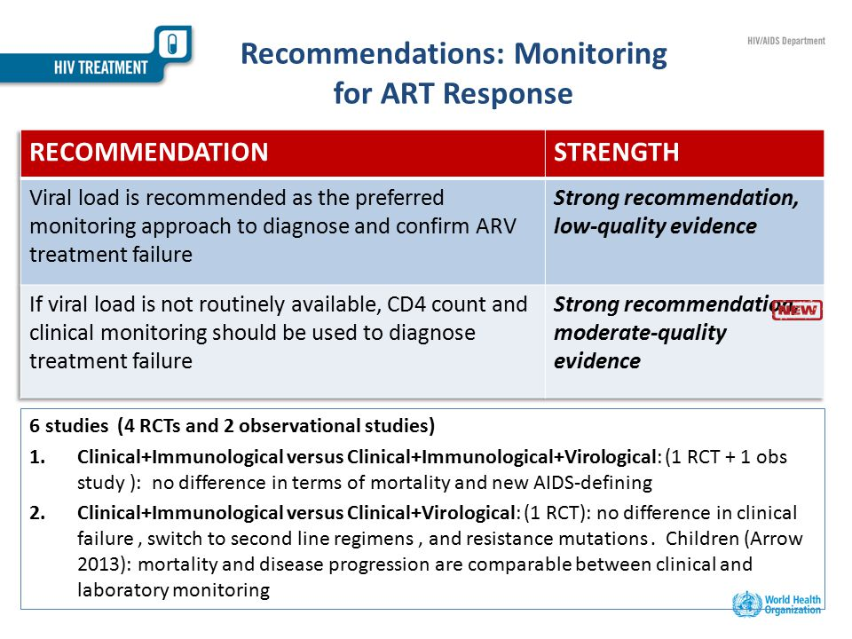 Recommendations: Monitoring for ART Response 6 studies (4 RCTs and 2 observational studies) 1.Clinical+Immunological versus Clinical+Immunological+Virological: (1 RCT + 1 obs study ): no difference in terms of mortality and new AIDS-defining 2.Clinical+Immunological versus Clinical+Virological: (1 RCT): no difference in clinical failure, switch to second line regimens, and resistance mutations.