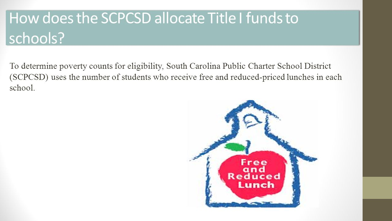 How does the SCPCSD allocate Title I funds to schools.