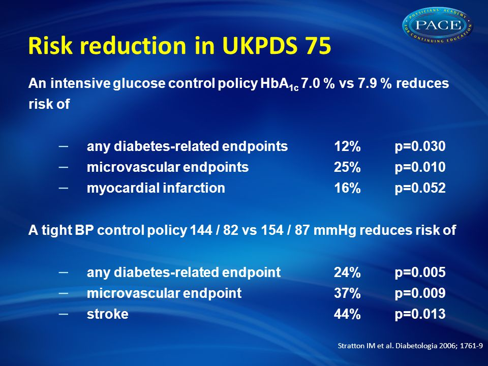 Risk reduction in UKPDS 75 An intensive glucose control policy HbA 1c 7.0 % vs 7.9 % reduces risk of – any diabetes-related endpoints 12% p=0.030 – microvascular endpoints 25% p=0.010 – myocardial infarction 16% p=0.052 A tight BP control policy 144 / 82 vs 154 / 87 mmHg reduces risk of – any diabetes-related endpoint 24% p=0.005 – microvascular endpoint 37% p=0.009 – stroke 44% p=0.013 Stratton IM et al.