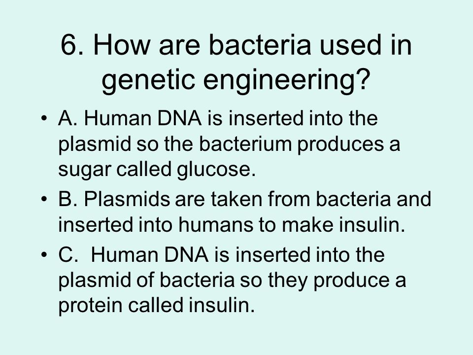 6. How are bacteria used in genetic engineering. A.