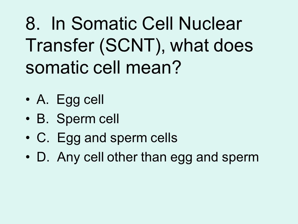 8. In Somatic Cell Nuclear Transfer (SCNT), what does somatic cell mean.