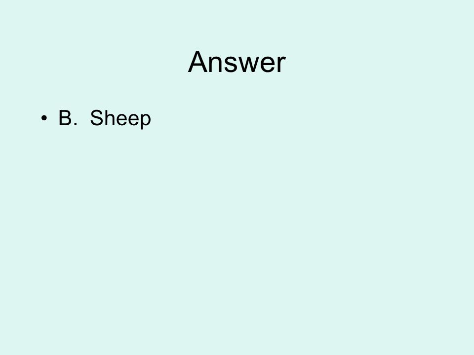 Answer B. Sheep