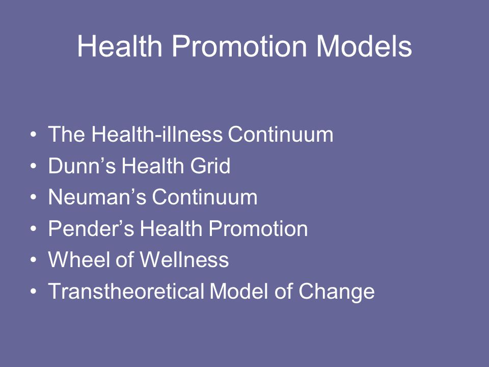Health Promotion Models The Health-illness Continuum Dunn's Health Grid Neuman's Continuum Pender's Health Promotion Wheel of Wellness Transtheoretical Model of Change