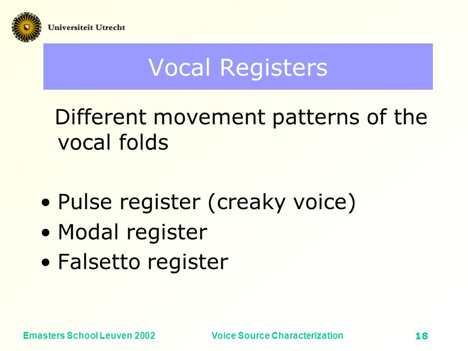 Emasters School Leuven 2002Voice Source Characterization17 Median smoothing of crest factor Vocal Intensity (dB SPL) Fundamental frequency (Hz) Crest factor Crest factor median smoothed
