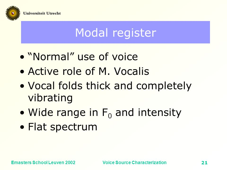 Emasters School Leuven 2002Voice Source Characterization20 Fundamental Frequency (Hz) Vocal Intensity (dB SPL) Pulse register