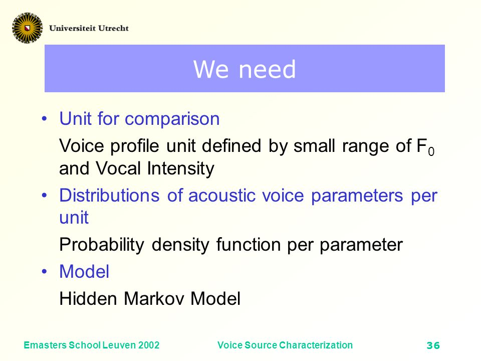 Emasters School Leuven 2002Voice Source Characterization35 Important features Contour has limited value –but most research goes into that direction (norm profiles) Distribution of acoustical parameters across the voice profile tells much more