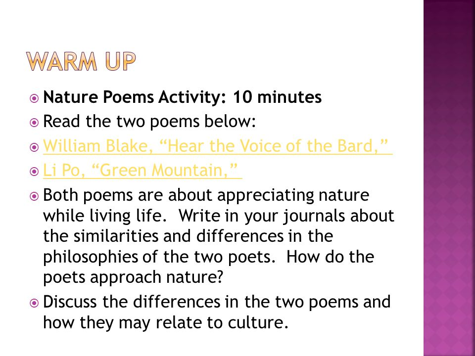 Nature Poems Activity 10 Minutes Read The Two Poems