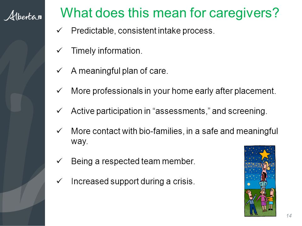 14 What does this mean for caregivers. Predictable, consistent intake process.