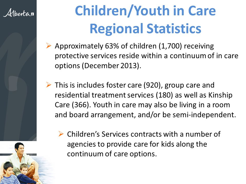 Children/Youth in Care Regional Statistics  Approximately 63% of children (1,700) receiving protective services reside within a continuum of in care options (December 2013).