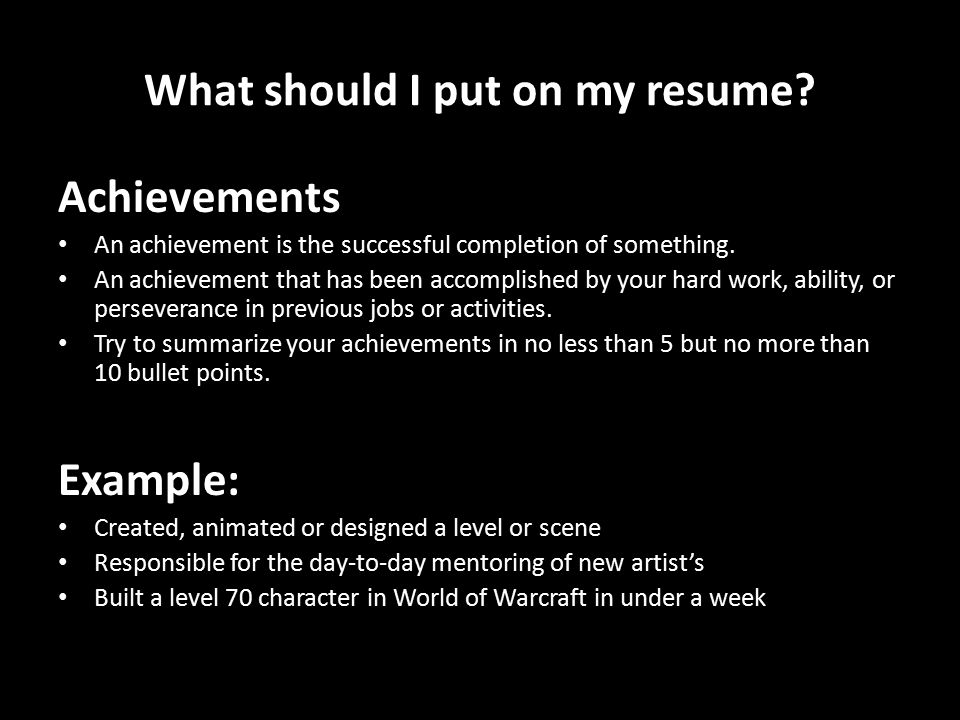 summarize your achievements example