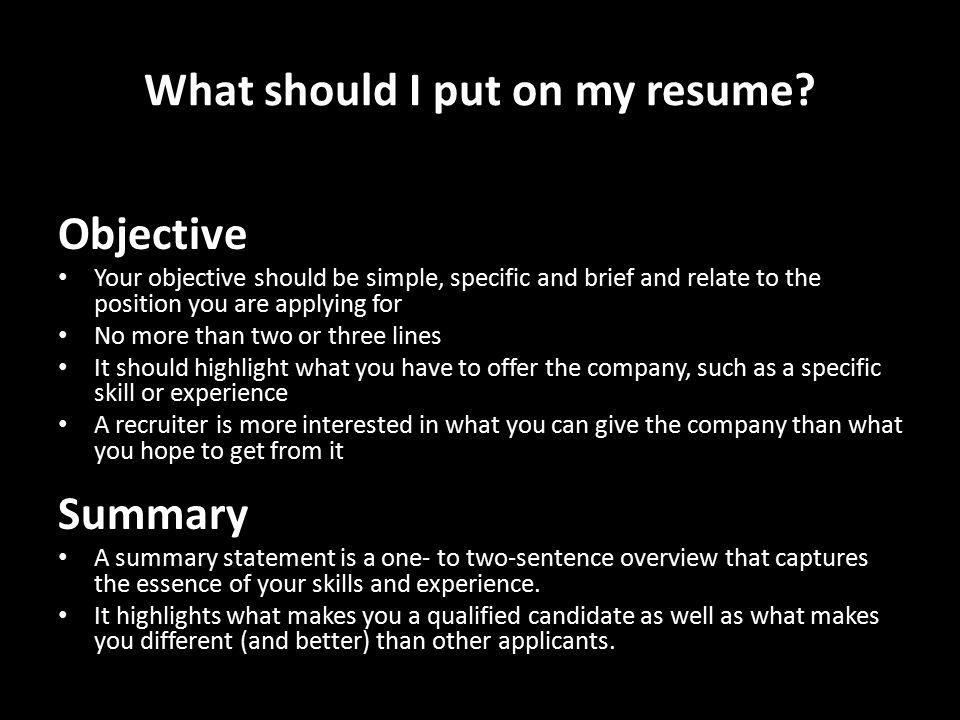 should i put an objective on my resume