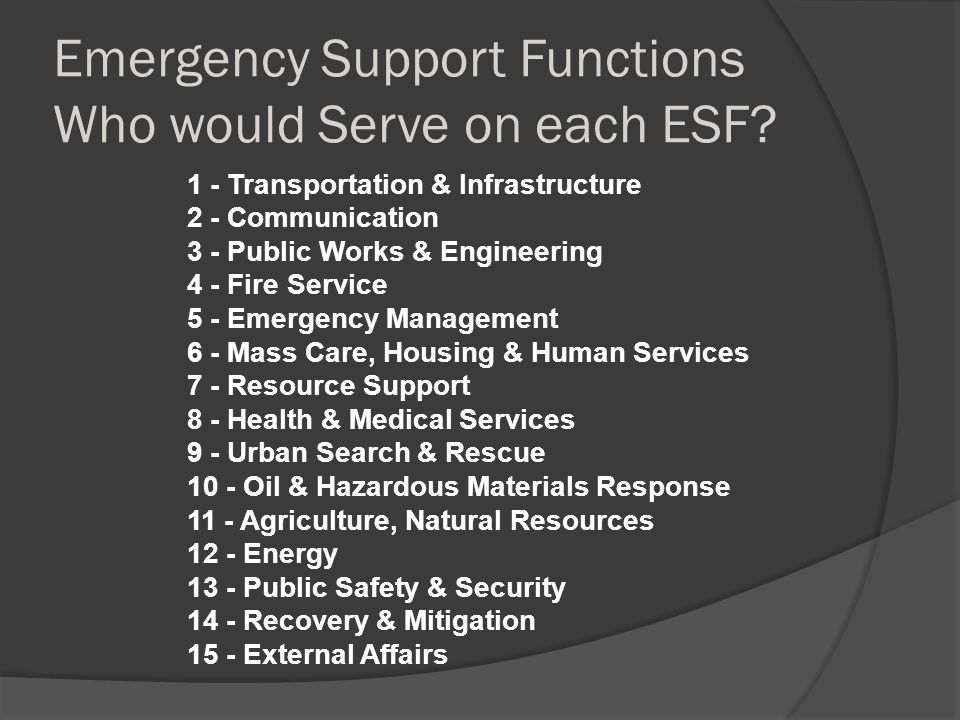 Emergency Support Functions Who would Serve on each ESF.