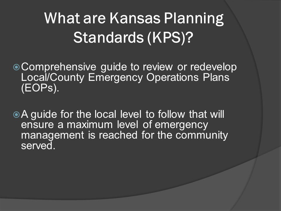 What are Kansas Planning Standards (KPS).