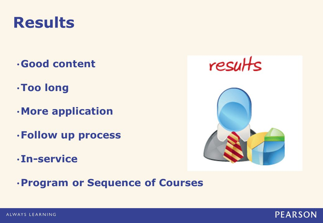 Results Good content Too long More application Follow up process In-service Program or Sequence of Courses