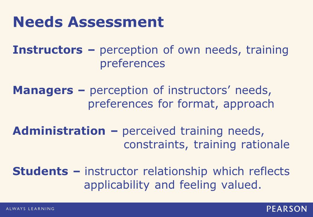 Needs Assessment Instructors – perception of own needs, training preferences Managers – perception of instructors' needs, preferences for format, approach Administration – perceived training needs, constraints, training rationale Students – instructor relationship which reflects applicability and feeling valued.