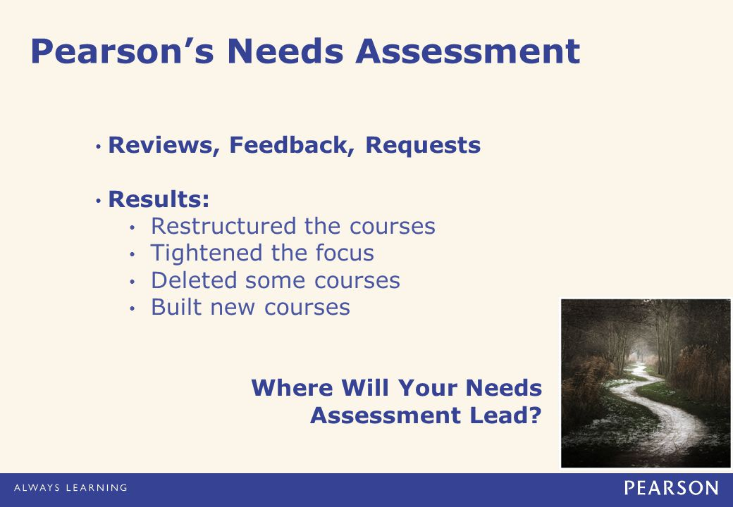Pearson's Needs Assessment Reviews, Feedback, Requests Results: Restructured the courses Tightened the focus Deleted some courses Built new courses Where Will Your Needs Assessment Lead