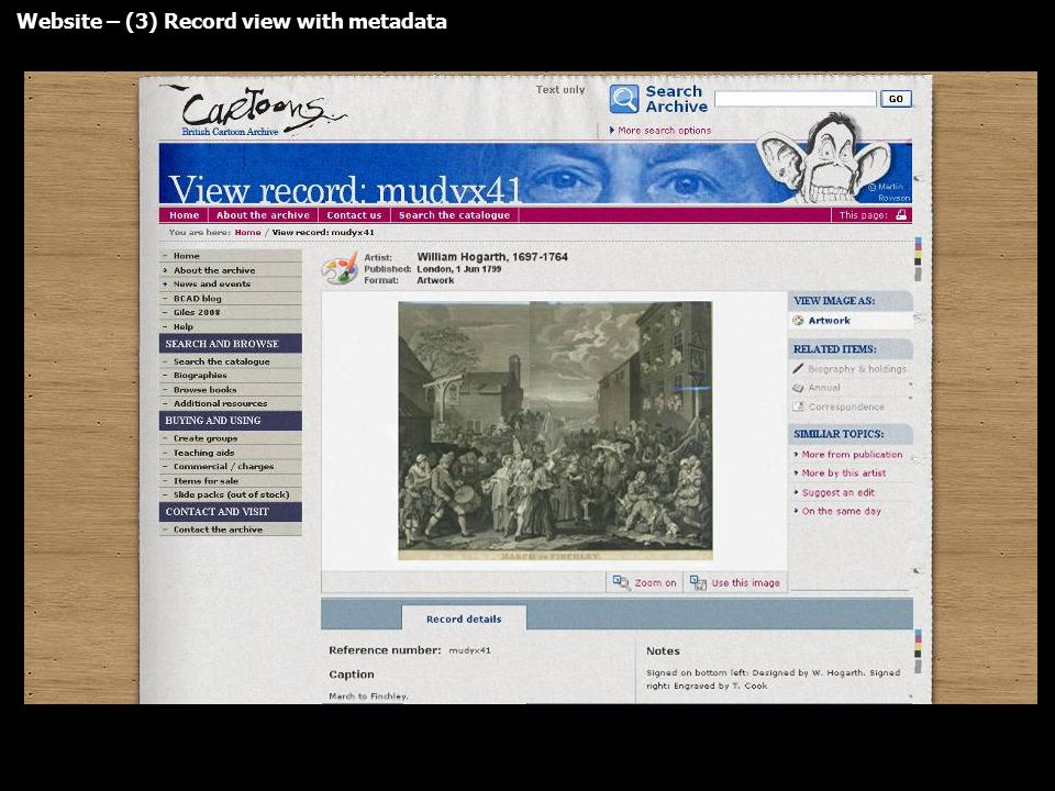 Website – (3) Record view with metadata