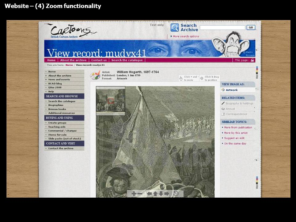 Website – (4) Zoom functionality