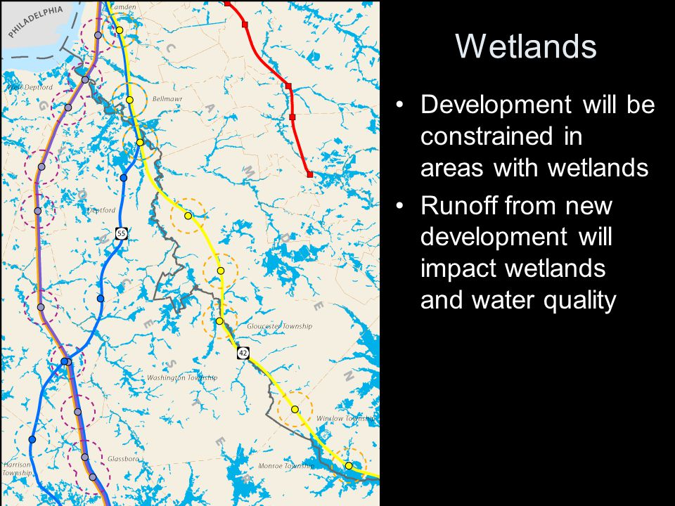 Wetlands Development will be constrained in areas with wetlands Runoff from new development will impact wetlands and water quality