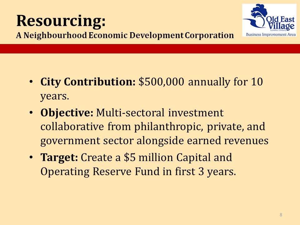 City Contribution: $500,000 annually for 10 years.