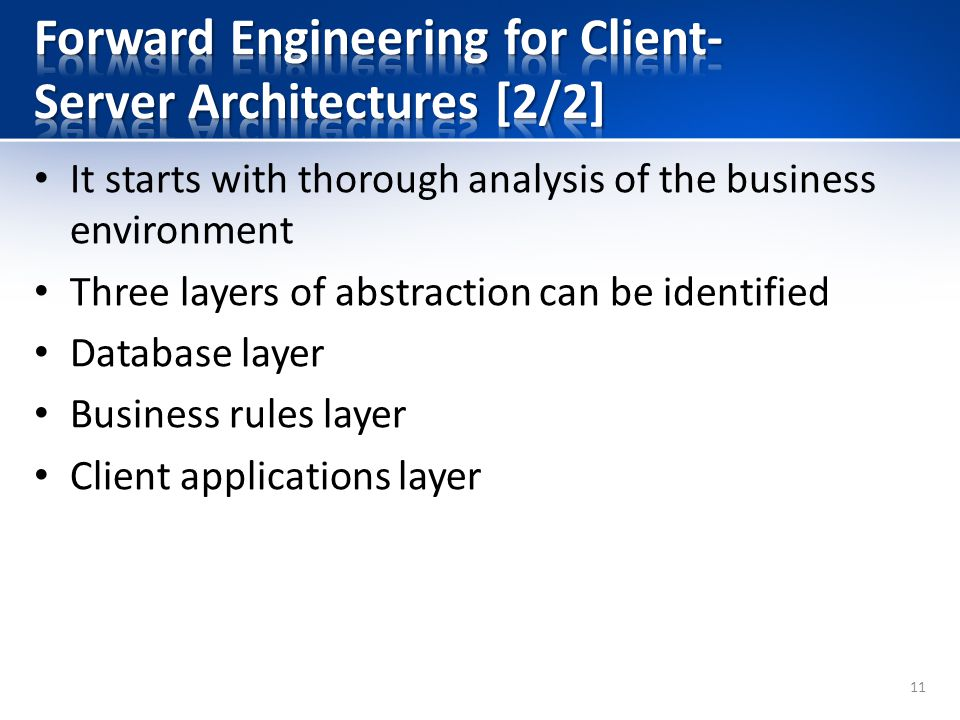 It starts with thorough analysis of the business environment Three layers of abstraction can be identified Database layer Business rules layer Client applications layer 11