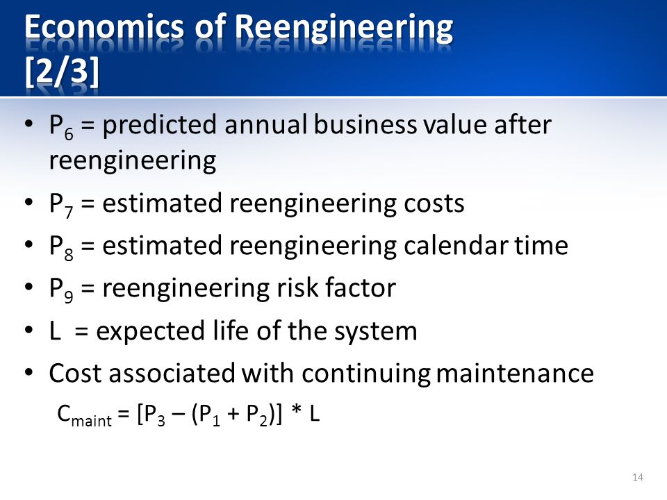 P 6 = predicted annual business value after reengineering P 7 = estimated reengineering costs P 8 = estimated reengineering calendar time P 9 = reengineering risk factor L = expected life of the system Cost associated with continuing maintenance C maint = [P 3 – (P 1 + P 2 )] * L 14