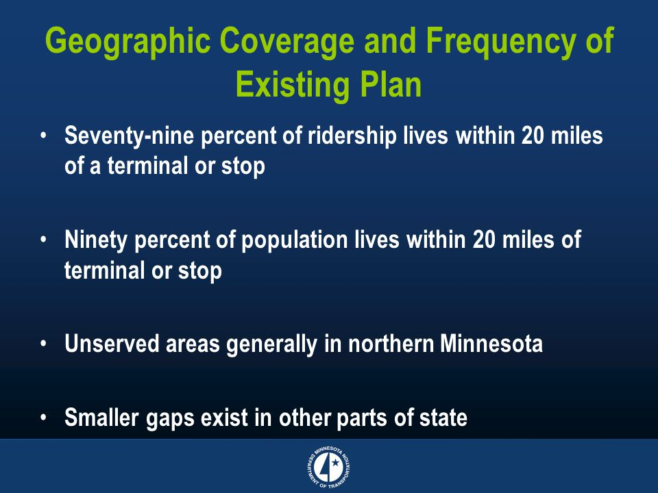 Geographic Coverage and Frequency of Existing Plan Seventy-nine percent of ridership lives within 20 miles of a terminal or stop Ninety percent of population lives within 20 miles of terminal or stop Unserved areas generally in northern Minnesota Smaller gaps exist in other parts of state