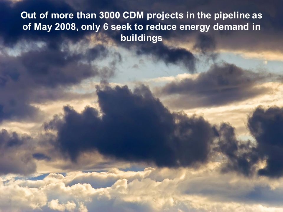 Out of more than 3000 CDM projects in the pipeline as of May 2008, only 6 seek to reduce energy demand in buildings
