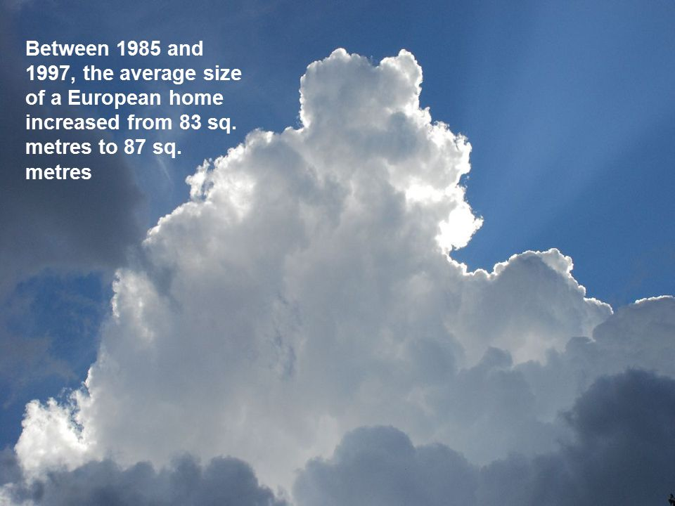 Between 1985 and 1997, the average size of a European home increased from 83 sq.