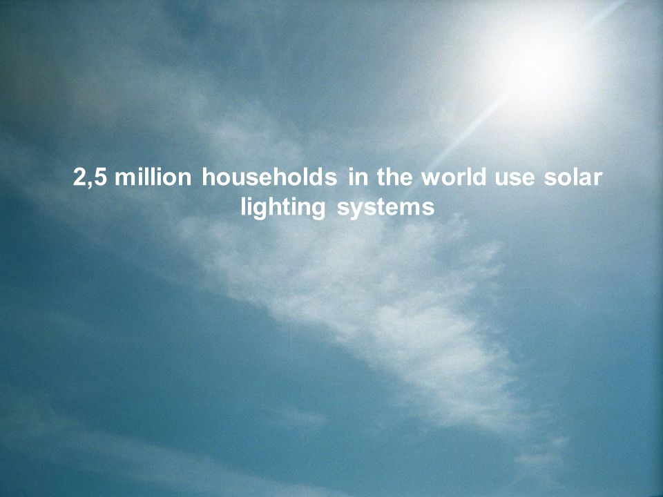 2,5 million households in the world use solar lighting systems