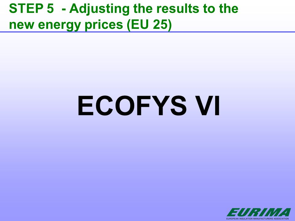 STEP 5 - Adjusting the results to the new energy prices (EU 25) ECOFYS VI