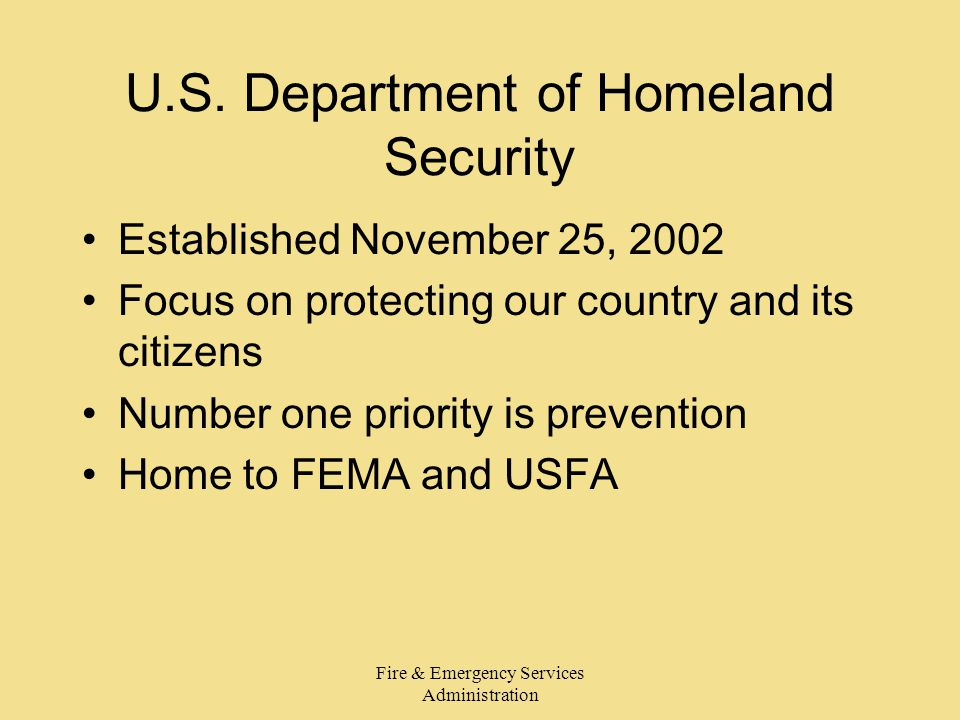 Fire & Emergency Services Administration U.S.