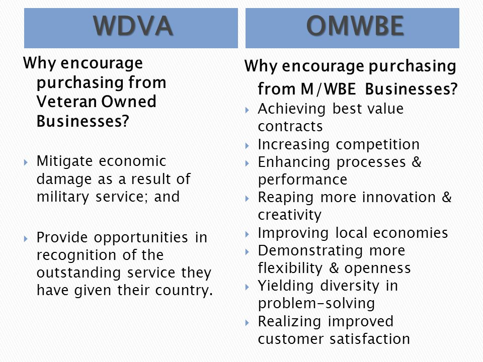 Minority And Women Business Enterprises Certification Veteran