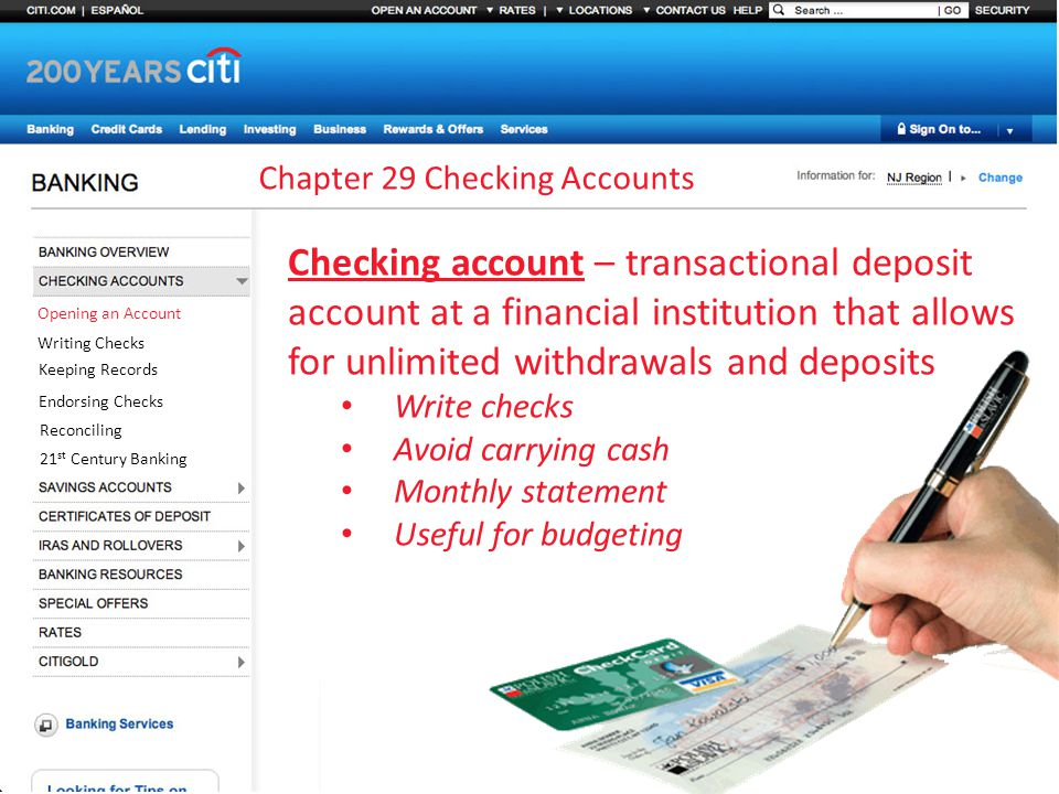 Chapter 29 Checking Accounts Opening An Account Writing Checks