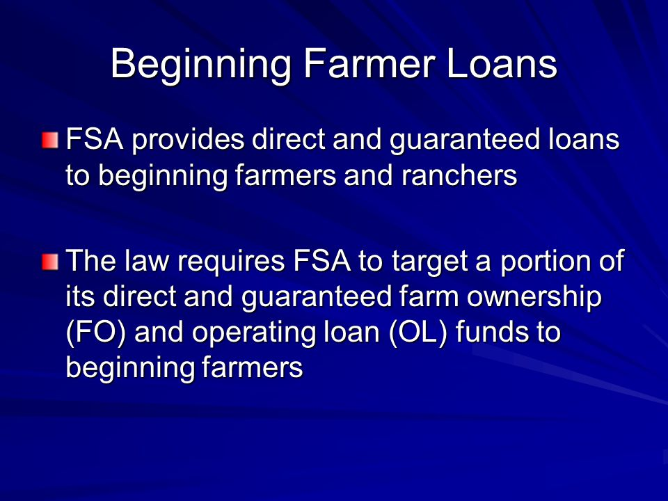 Beginning Farmer Loans FSA provides direct and guaranteed loans to beginning farmers and ranchers The law requires FSA to target a portion of its direct and guaranteed farm ownership (FO) and operating loan (OL) funds to beginning farmers